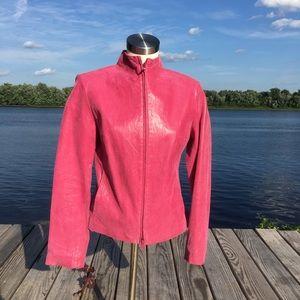 Express RARE hot pink 100% leather zipper jacket
